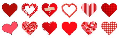 vector collection of different hearts symbolizing love, for valentine time Ilustração