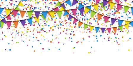 Ilustración de guirnaldas de colores transparentes y confeti sobre fondo blanco para el uso de plantillas de fiesta o carnaval de Sylvester