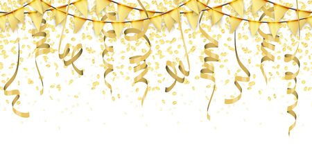 vector illustration of seamless golden colored confetti, garlands and streamers on white background for party or carnival usage