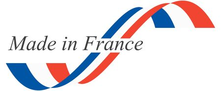 illustration of seal of quality with national colors and text MADE IN FRANCE