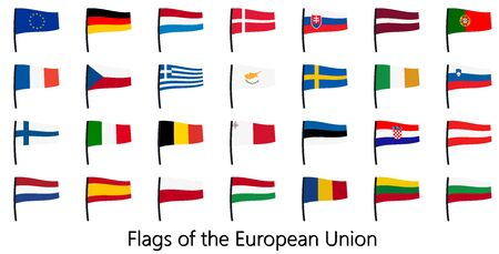 EPS 10 vector showing a collection of european union flags
