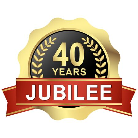 gold button with red banner for 40 years jubilee