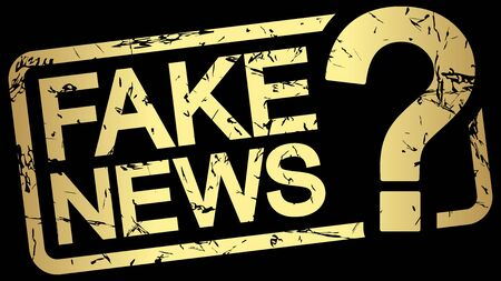 grunge stamp with frame colored gold and text Fake News Vectores