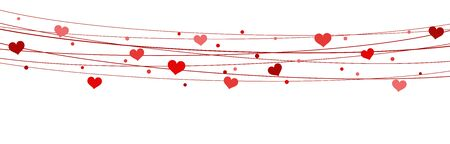 hearts on strings background for valentine's day time colored red for mother's day and love concepts