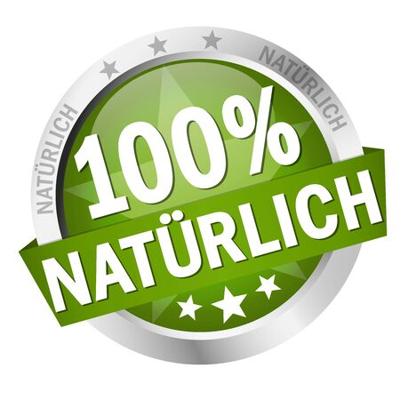 round colored button with banner and text 100% natürlich (in german)  イラスト・ベクター素材