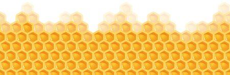 illustrating colorful yellow seamless honey comb background Ilustração