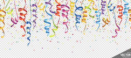 illustration of seamless colored confetti and streamers background for party or carnival usage with transparency in vector file