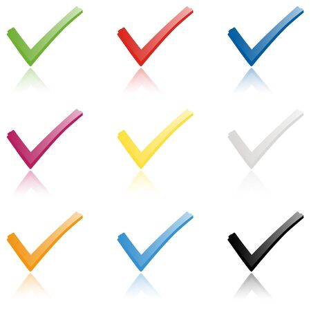 collection of colored check marks with reflection to symbolize success Illusztráció