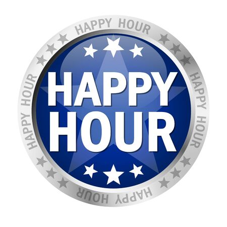 colored button with banner and text Happy Hour