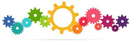 eps vector illustration of colored gears symbolizing cooperation or teamwork process