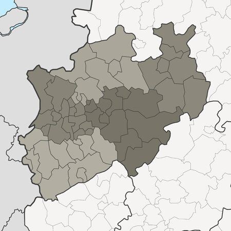 Map of Germany federal state North Rhine-Westphalia with neighboring federal states