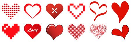 vector collection of different hearts symbolizing love, for valentine time  イラスト・ベクター素材