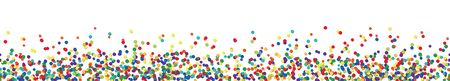 vector panorama illustration of different colored confetti with free white space for text for carnival, sylvester or party time on white background