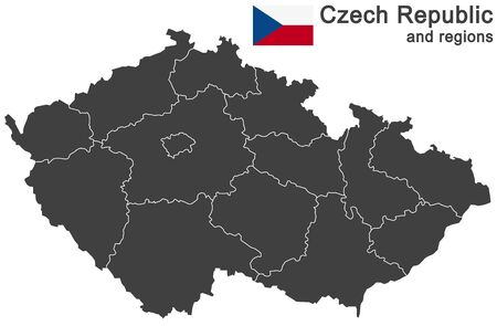 european country Czech Republic and detailed regions Vektorové ilustrace