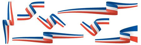 collection of seven different french country flag banners with national colors Illustration
