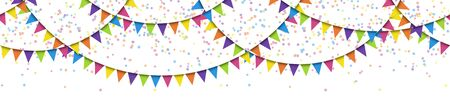 vector illustration of seamless colored garlands and confetti on white background for sylvester party or carnival template usage Illustration