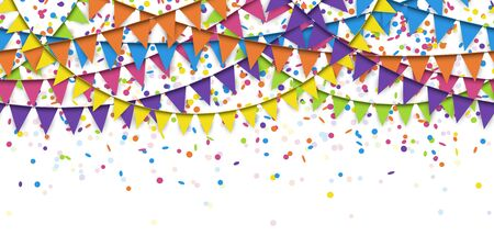 vector illustration of seamless colored confetti and garlands on white background for party or carnival usage