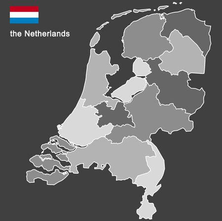 silhouette of the netherlands and the regions Stock Illustratie