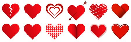vector collection of different hearts symbolizing love, for valentine time 写真素材 - 143104363
