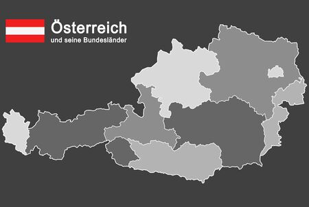 silhouettes of Austria and the federal states Иллюстрация