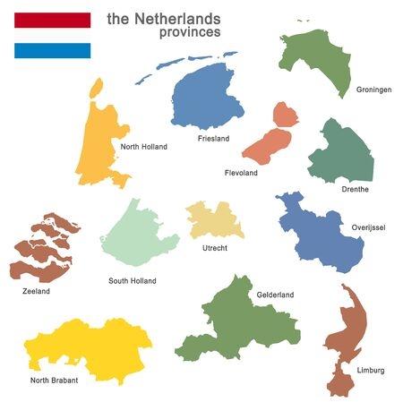 colored silhouettes of the netherlands and the regions Vector Illustratie