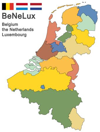 colored silhouettes of the netherlands, Luxembourg and Belgium