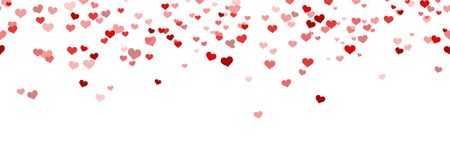 seamless background with different red colored confetti hearts for valentine time, mother's day or love concepts