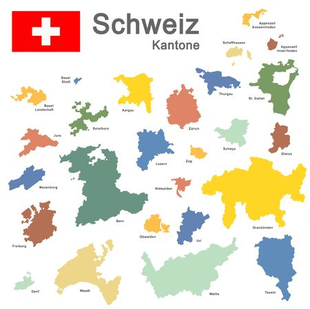 colored silhouettes of country Switzerland and all cantons 矢量图片