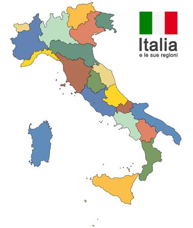 silhouettes of european country Italy and the regions 일러스트
