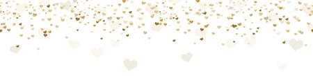 seamless background with different golden colored confetti hearts for valentine time, mother's day or love concepts