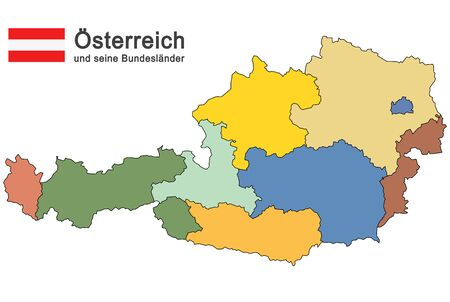 colored silhouettes of Austria and the federal states