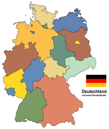 west european country germany and the federal states Illustration