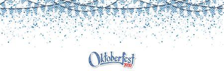 Oktoberfest 2020 garlands having blue-white checkered pattern and blue confetti