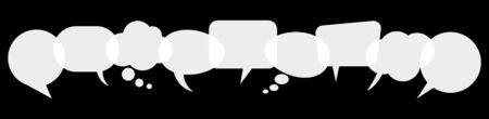 illustration of white speech bubbles in a row with space for text on black background