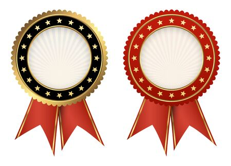 red and black seal of quality template with red ribbons Vector Illustratie