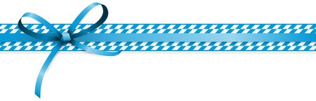 EPS 10 vector illustration of white and blue checkered banners with ribbon bow for German Oktoberfest time 2020  イラスト・ベクター素材