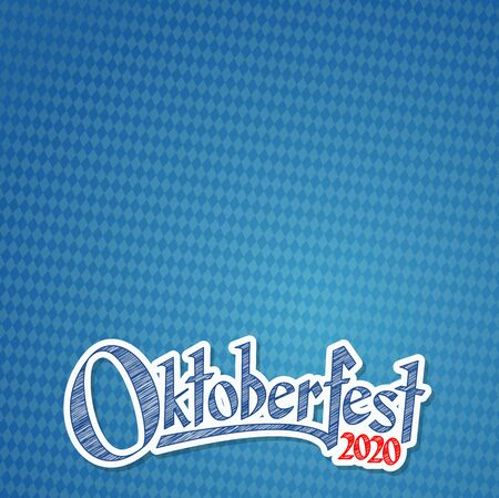 Oktoberfest background with blue-white checkered pattern and text Oktoberfest 2020 (in german)  イラスト・ベクター素材