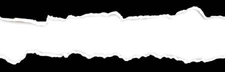 partie supérieure et inférieure de papier déchiré de couleur noire