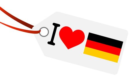 white hang tag with ribbon and text I love germany and heart flag  イラスト・ベクター素材