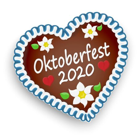 illustrated gingerbread heart with text Oktoberfest 2020 and red hearts and german Edelweiss flowers