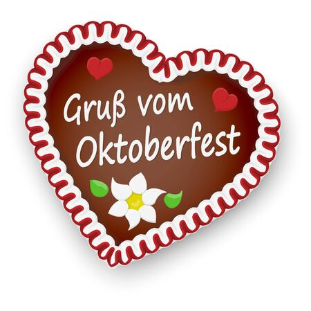 illustrated gingerbread heart with text greetings from Oktoberfest (in german) for Oktoberfest 2020 2021 time