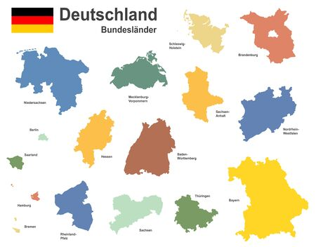 west european country germany and the federal states  イラスト・ベクター素材