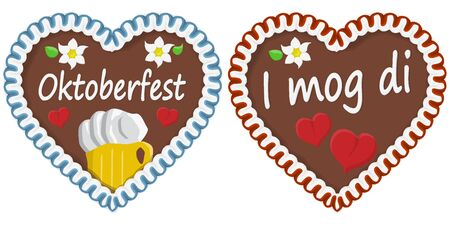 illustrated gingerbread heart with text in german for Oktoberfest time 2020 2021  イラスト・ベクター素材