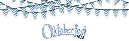 Oktoberfest 2020 garlands having blue-white checkered pattern