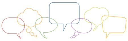 illustration of outlined colored speech bubbles in a row with space for text symbolizing communication process with white background