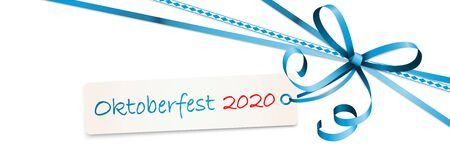 EPS 10 vector illustration of blue colored ribbon bow with hang tag and text Oktoberfest 2020 isolated on white background for German Oktoberfest time