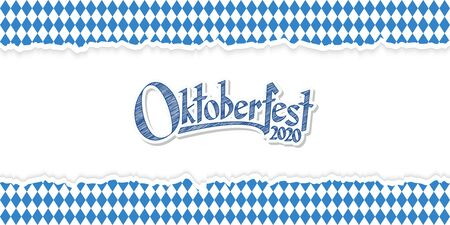 Oktoberfest background with ripped open paper having blue-white checkered pattern and text Oktoberfest 2020  イラスト・ベクター素材