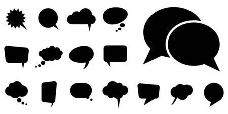 collection of different speech bubbles and thought bubbles with space for text Vettoriali