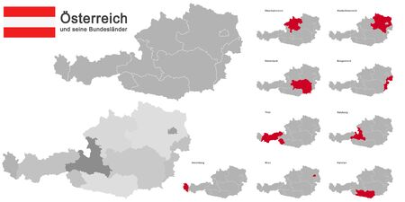 silhouettes of Austria and the federal states