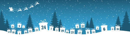 lying christmas presents colored white with numbers 1 to 24 showing advent for xmas and winter time concepts, blue nature background with fir trees and flying santa claus with reindeers Иллюстрация